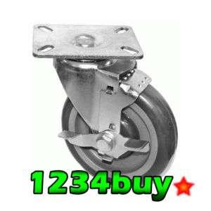 Plate Caster Heavy Duty PU Wheel w/ Brake KP6112