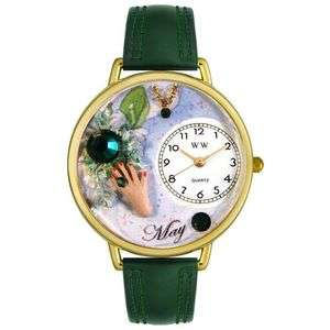 May Birthstone Watch Gold Emerald Clock Gift B Aries Ne