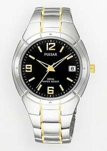 SEIKO PULSAR $125 MENS SILVER STAINLESS STEEL/GOLD BLACK DIAL WATCH