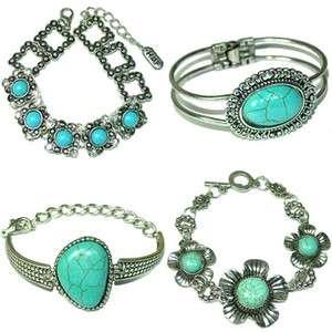 vintage Tibetan Silver Turquoise Beads Bracelet .w.Box