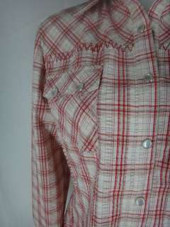CABI WILD WEST WEAR red white western pearl snap SHIRT TOP L puckered