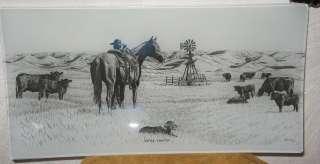 WESTERN DECOR COWBOY SCENE SERVING TRAY MILK GLASS 11X6 ANGUS CATTLE