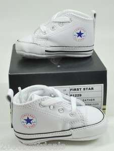 CONVERSE NEW BORN CRIB BOOTIES WHITE MY FIRST ALL STAR BABY BOOTIES