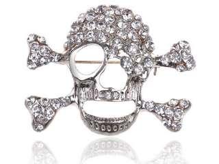 Clear Crystal Rhinestone Skull Jagged Face Bones Pirate like Fashion
