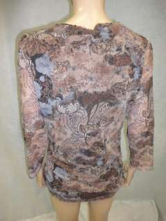 Sweet Pea by Staci Frati Brown Floral Lace Underlay L/S Shirt Top 1X