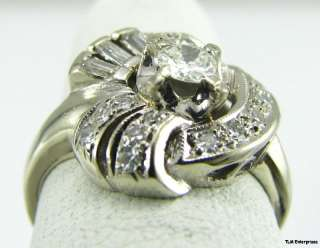SI2, I DIAMOND RING   Unique 14k Solid White GOLD Art Deco Estate A+