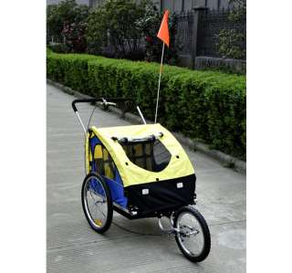 2IN1 DOUBLE KIDS BABY BIKE BICYCLE TRAILER STROLLER JOGGER Yellow Blue
