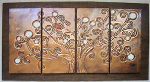 COPPER WALL ART   4 PANEL TREE   WHITE w/ 1 RED