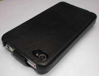 NEU iPhone 4 Ledertasche Leder Tasche Flip Case schwarz
