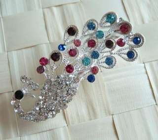 VARY COLORS SWAROVSKI CRYSTAL GOLD & SILVER PEACOCK HAIR CLIP 118 HOT