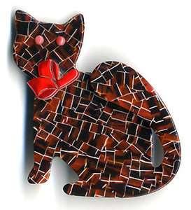 Vintage Lea Stein Mosaic Pattern Watching Cat Brooch Pin