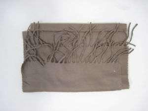 DESIGNER Brown Long Thin Scarf Frayed Edges