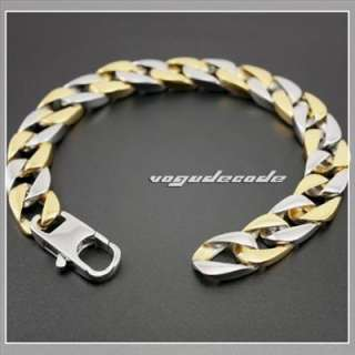 11.6 Cool 316L Stainless Steel Silver & Golden Men`s Bracelet