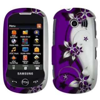 For AT&T Samsung A927 Flight 2 Purple Silver Vines 2D Hard Case Cover