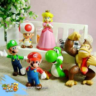 Lots 6 pcs Nintendo Super Mario Bros Action Figure Xmas