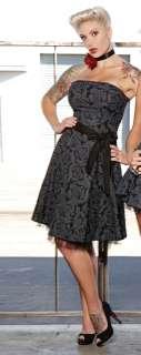 FOLTER Strapless BLACK ROSES Flare Crinoline Dress S L