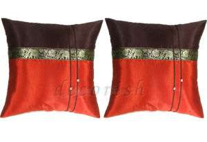 SILK COUCH PILLOW COVERS ELEPHANTS BURNT ORANGE/BROWN