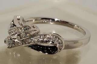 44CT SWIRL DESIGN ROUND CUT BLACK & WHITE DIAMOND RING SIZE 6.75