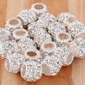 20X Silver Plated Bright Crystal Rhinestone European Beads Charms Fit