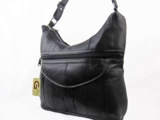 BLACK LAMB LEATHER SHOULDER PURSE CROSS BODY MESSENGER BAG