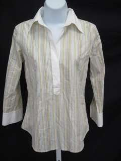 You are bidding on an THEORY Mulit color Striped Button Down Shirt sz
