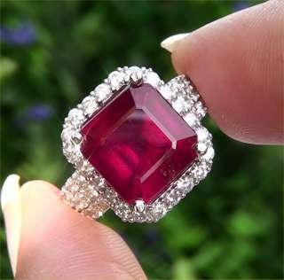 Estate 10.45 ct CERTIFIED Natural Red Ruby & Diamond Vintage Ring 14k