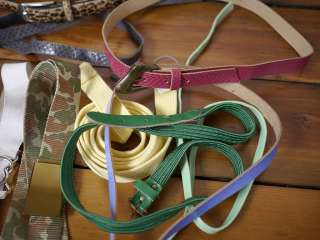 1980s Skinny Colorful Leather Canvas Vegan BELTS Various Sizes