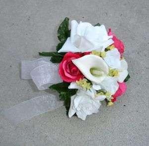 Hot Pink Fuchsia Watermelon Bridal Bouquet Silk Wedding Flowers Calla