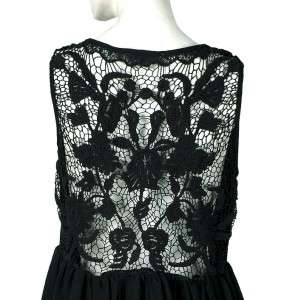 White Chocolate Floral Lace Black Sheer Tunic Dress Large L 12