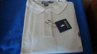 LAUREN MEN INTERLOCK POLO WHITE BLUE GRAY SHIRT BIG & TALL $75.
