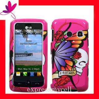 Premium PINK SKULL Hard Snap On Case Cover for Straight Talk LG511C LG