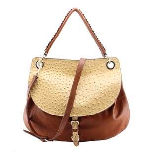 Leather Ostrich Pattern Two Tone Flap Hobo Bag Shoulder Bag Tote Bag