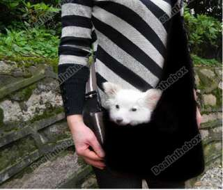 Washable Black Strip Sling Pet Dog Tote Single Shoulder Bag Carriers