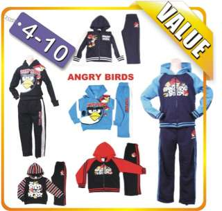 BOYS ANGRY BIRDS HOODIE TOP 2PC SET HOODIE JACKET TRACKSUIT OUTFIT SET