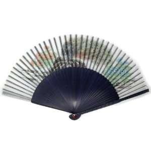 Peacock Blossom Blue Bamboo Wood Oriental Silk Folding Fan