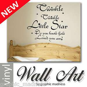 Twinkle twinkle little star Vinyl Wall Art Sticker Bedroom Nursery