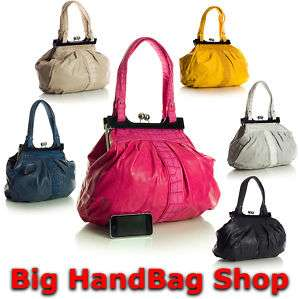 New Large Two Tone Tote Kiss Lock Shoulder Handbag Bag