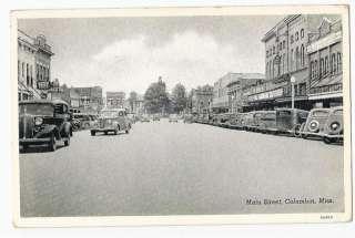 Mississippi, MS, Columbia, Main Street Scene Postcard