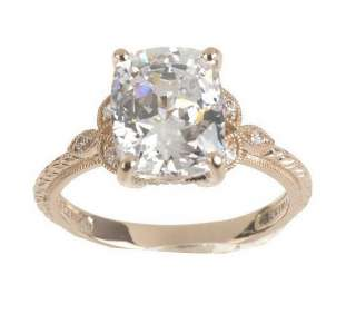 Diamonique 100 Facet Emerald Cushion Cut Ring, 14K Gold   QVC