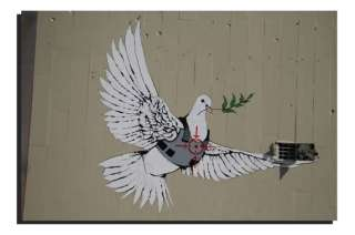 BANKSY GRAFFITI ART   DEEP FRAMED WALL ART CANVAS PRINT   PEACE DOVE