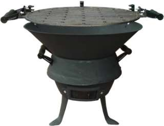 Black Barrel Charcoal BBQ w/ Cast Iron Adjustable Grill Garden Camping