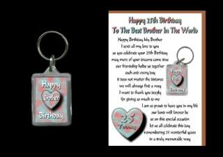 25TH HAPPY BIRTHDAY BROTHER 25 CARD AND KEYRING GIFT