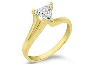 SOLITAIRE TRILLION CUT DIAMOND ENGAGEMENT RING YELLOW GOLD