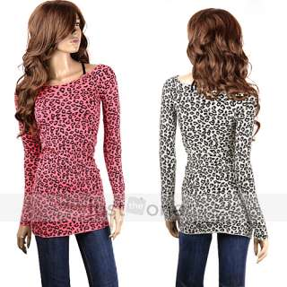Sexy Women Ladies Off Shoulder Top Blouse Long Sleeve Leopard Print