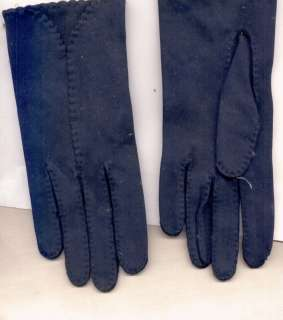 Navy Small Cotton Ladies Gloves w/ Decorative Stitch