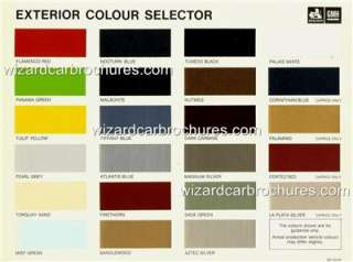 1981 HOLDEN PAINT COLOUR CHART BROCHURE NEAR MINT CONDN