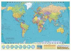 Mapa Mundi Político 70 x100 cm Plastificado Brillo