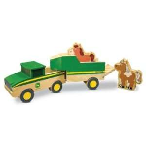 John Deere Wooden Truck with Trailer: Toys & Games
