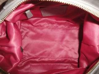 SNAP HEAD SATCHEL 15451 PINK GRAY CIRCLES PATENT BAG PURSE TOTE