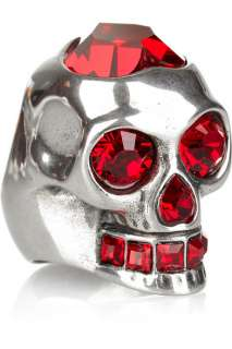 Alexander McQueen Crystal embellished skull ring   60% Off Now at THE